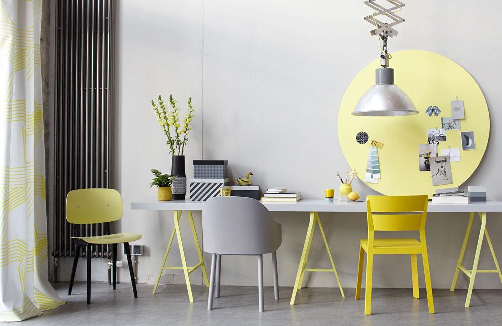 Peter Fehrentz interiordesign photography Innenarchitektur Fotografie Design Möbeldesign Furnituredesign Schöner Wohnen grey and yellow workplace chairs industrial