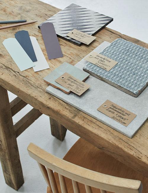 Peter Fehrentz interiordesign photography Innenarchitektur Fotografie Design Möbeldesign Furnituredesign Schöner Wohnen country modern table tiles collage