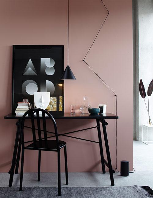 Peter Fehrentz interiordesign photography Innenarchitektur Fotografie Design Möbeldesign Furnituredesign Schöner Wohnen minimal office homeoffice black flos pink walls