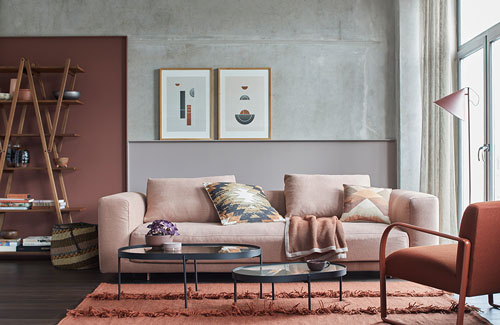 Peter Fehrentz interiordesign photography Innenarchitektur Fotografie Design Möbeldesign Furnituredesign Schöner Wohnen terrakotta burned earth pigments livingroom sofa concrete